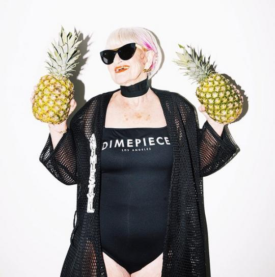 Glamorous Granny Modeling With Pineapples